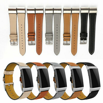 AU12.78 • Buy For Fitbit Charge 2 Classic Genuine Leather Wristband Metal Buckle Band Strap UK