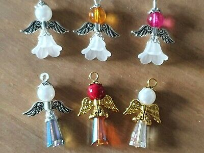 £2.45 • Buy 6 Angel Beaded Wing Christmas Fairy Charms Pendants Mixed Colours