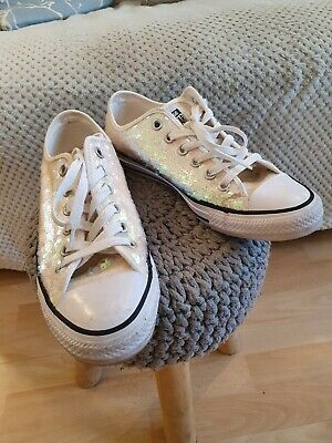 Converse Sequin Ox White Iridescent Size 6 • 10£