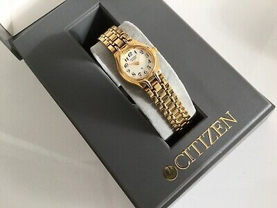 Vintage Ladies Silhouette Citizen Gold Plated Bracelet Watch In Original Box . • 30£
