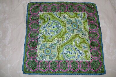New Macclesfield 100% Silk Twill Pocket Square 18  Green Paisley Hand Rolled • 12£