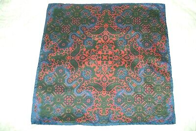 New Macclesfield 100% Silk Pocket Square 17  Hand Rolled Navy Red Paisley • 14£
