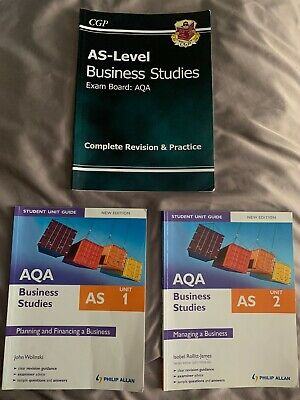 AS Business Studies AQA Exam Board 3 Books CGP Student Unit Guide Unit 1 & 2 • 2£