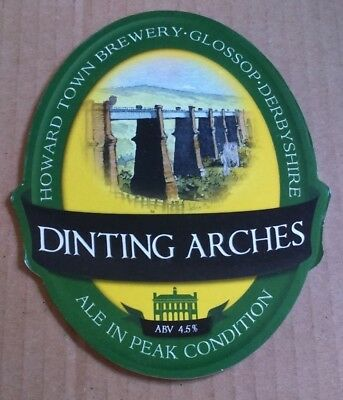 Beer Pump Clip Badge Front HOWARD TOWN Brewery DINTING ARCHES Ale Rail Theme • 1.40£