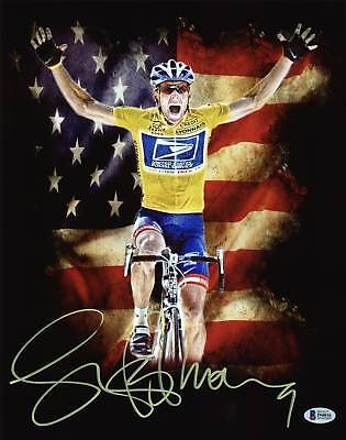 Lance Armstrong Authentic Signed 11X14 Metallic Photo Autographed BAS • 108.53£