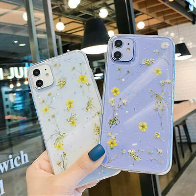AU12.22 • Buy For IPhone 12 Pro Max Mini 11 X 7 8 XR Glitter Real Dried Flower Cute Case Cover