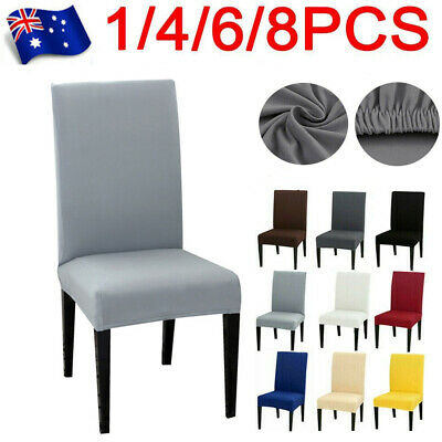 AU15.39 • Buy 1-8 PCS Stretch Dining Chair Covers Spandex Cover Wedding Banquet Party Washable