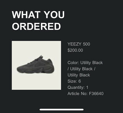 $ CDN518.36 • Buy Adidas YEEZY 500 Utility Black Men's Size 6 US  ORDER CONFIRMED @ ADIDAS**
