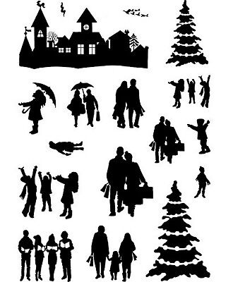 Card-io Clear Stamp Set HOME FOR CHRISTMAS Silhouette Carol Singers People Trees • 9.25£