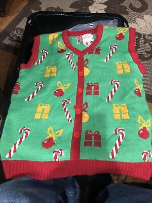 $21.50 • Buy Merry Christmas Sweater Vest Green Red Button Accents Size Large