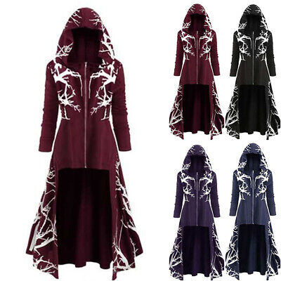 £22.69 • Buy Women Gothic Hooded Trench Coat Party Punk Zip Up Cloak Jacket Ladies Outwear