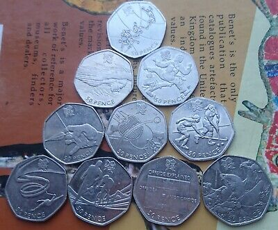 Olympic Games X10 Includes Football And Triathlon 50p Coins • 19.99£