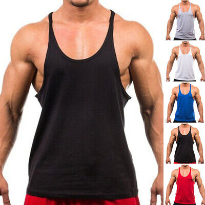 Mens Sports Fitness Gym Tee Muscle Vest Singlet Y-Back Bodybuilding Tank Tops • 6.59£