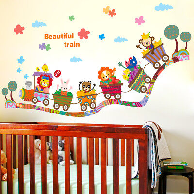 Cartoon Animal Zoo Circus Train Children Diy`removable Kids Wall Stickers D CPUK • 3.64£