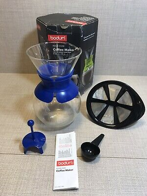 Bodum Pour Over Coffee Maker With Permanent Filter 1.0 L Blue Unused • 13.99£