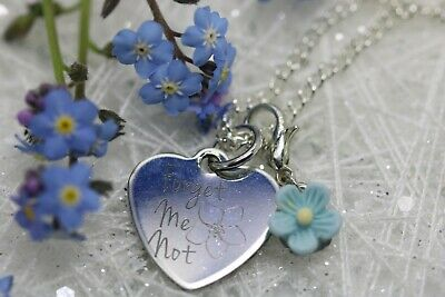 Forget-Me-Not  Necklace 18 Inch Silver Plated Chain Stainless Steel Pendant • 5.99£