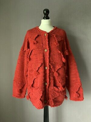 AMANO Gorgeous Chunky Wool Artisan Hand Knit Bunting Cardigan OS 52  Chest • 22£