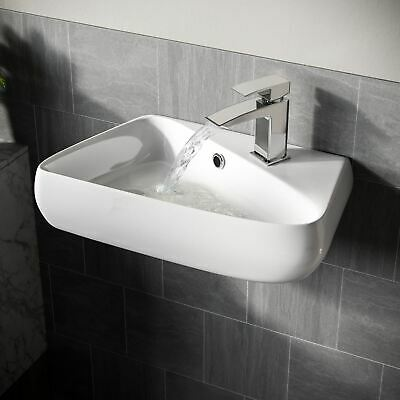 £31.99 • Buy 455 Mm Rounded Rectangle Wall Hung Basin Cloakroom Bathroom Wash Sink | Tulla