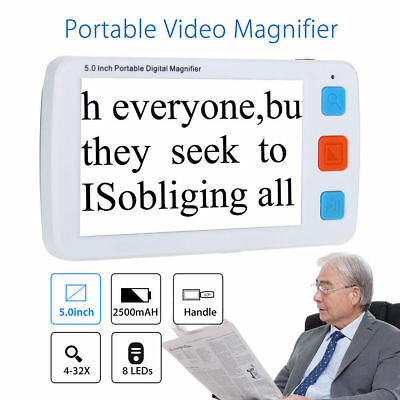 5  Display Electronic Digital Magnifier 4-32X Zoom Reading-Aiding 17-Color Modes • 113.73£