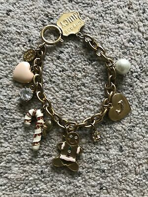 Juicy Couture Charm Bracelet Chunky Gold Tone Heart Crystal Candy Ltd Ed 2008 • 12£
