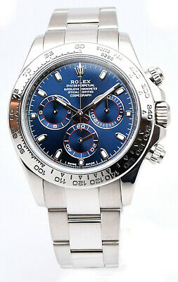 $ CDN49000.54 • Buy Rolex Daytona Chronograph 18k White Gold Blue Dial Watch '17 Box/Papers 116509