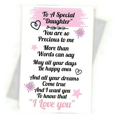 Special Daughter   Lovely Keepsake Purse Card + Free Keyring  • 1.39£