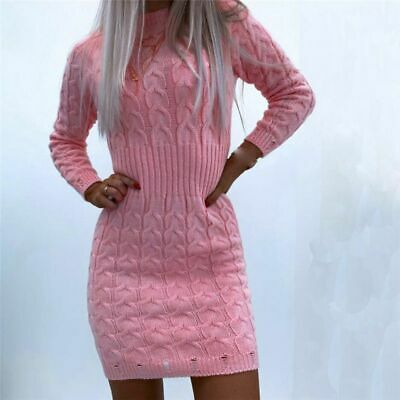 AU27.19 • Buy Jumper Dress Knitted Womens Mini Dress Bodycon Long Sleeve Party Ladies Sweater