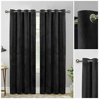 Luxury Plush Velvet Eyelet Ring Top Charcoal Curtains Pair Fully Lined 90  X 90  • 34.99£