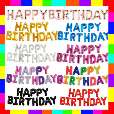 £2.49 • Buy Happy Birthday Balloon Banner Bunting Self Inflating Letters Foil Balloons Party