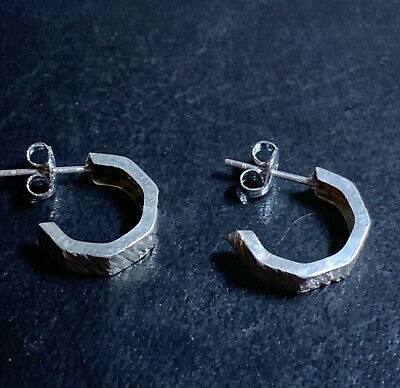 Vintage 925 Silver Half Hoop Textured Earrings  • 9.99£