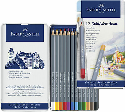 Faber Castell Goldfaber Aqua Watercolour Pencils In Tin Set Of 12 - New • 8.89£