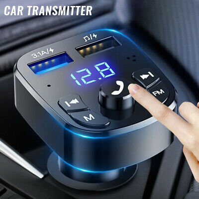 Bluetooth 5.0 Wireless Handsfree Car FM Transmitter MP3 Player 2 USB Charger Kit • 6.89£