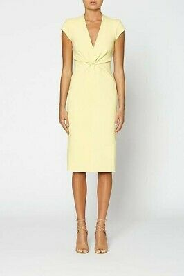 AU310 • Buy Scanlan Theodore Milano Crepe Dress Lemon Australian Size 8