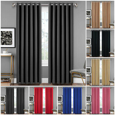 Thick Thermal Blackout Curtains Pair Of Eyelet Ring Top Ready Made Curtain Panel • 23.99£