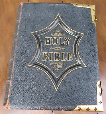 £165 • Buy Antique Illustrated National Family Bible, Pub. Leicester & Co., Leather & Brass