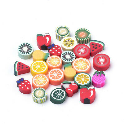 £2.99 • Buy Polymer Clay FRUIT Design CABOCHONS Mixed Pack Novelty Food Cute Kitsch 50pcs