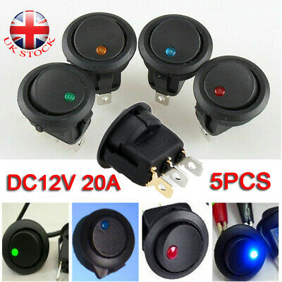 DC12V 20A ON/OFF Round Rocker Switch LED Illuminated Car Dashboard Dash Boat Van • 3.78£