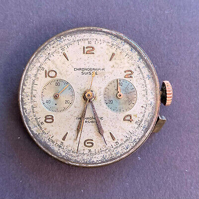 $ CDN99.45 • Buy Vintage Chronograph Suisse Movement And Dial - Balance Ok - For Parts Or Repair