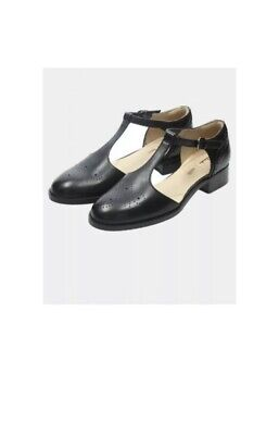 Clarks Ladies Netley Daisy Black Leather T Bar Shoes UK 8 Eu 42 • 36£