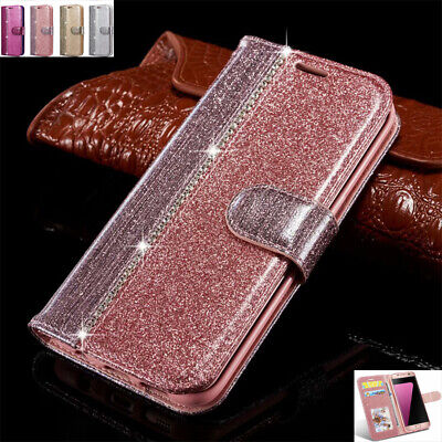 AU15.88 • Buy For Samsung S7 S9 S20 Note9  Bling Magnetic Flip Leather Wallet Case Stand Cover