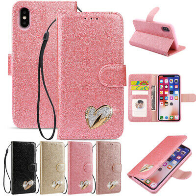 AU15.68 • Buy For IPhone 12 13Pro Max XR 7 8+ Glitter Magnetic Leather Wallet Case Stand Cover