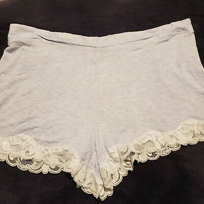 Grey Marl Viscose Jersey Shorts With Lace Trim Sizes 8 10 14 16 20 • 3.99£