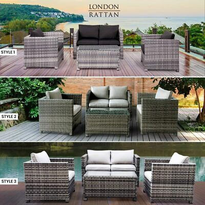 AU699 • Buy LONDON RATTAN Outdoor Furniture 4pc Setting Chairs Lounge Set Couch Wicker Sofa