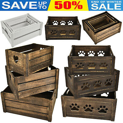Dog Toy Wooden Chest Storage Collection Box Crates Display Shelf Gift Hamper NEW • 14.80£