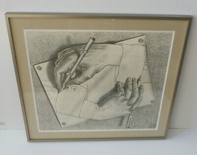 $139 • Buy M.C. (Maurits Cornelis) Escher 1948 Etching  Drawing Hands  Print Matted Framed