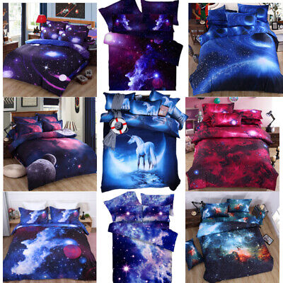 3D Galaxy Duvet Quilt Cover Universe Bedding Set Single Double King UK 007 • 19.99£