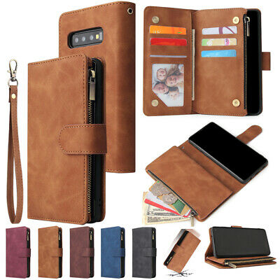 AU17.89 • Buy For Samsung S21+ S10 Note20 A21s Luxury Leather Zipper Wallet Purse Case Cover