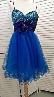 Blue Cocktail Prom Party Dress Sequins Net Skirt UK Size 8 Woodland Fairy  • 15£