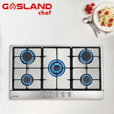 AU299 • Buy GASLAND Chef 90cm Gas Cooktop 5Burner Stainless Cast Iron Cook Top Trivets Stove