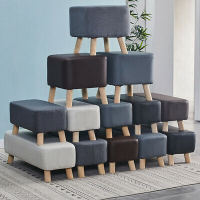 Footstool Faux Leather Linen Fabric Padded Foot Stools Ottoman Bench Wood Legs • 21.99£